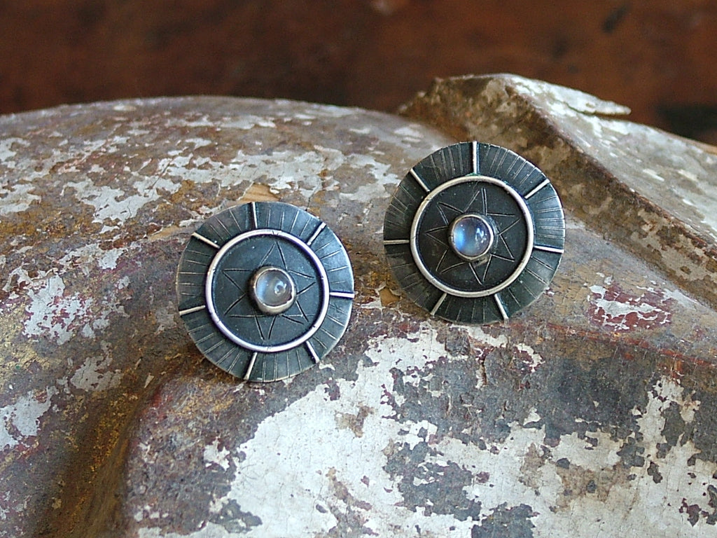 Vintage and Preloved Moonstone Disk Earrings