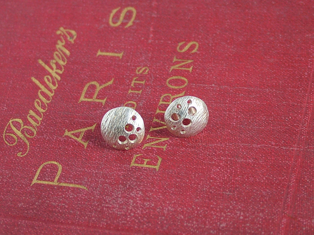 Pierced, Silver Disk Stud Earrings