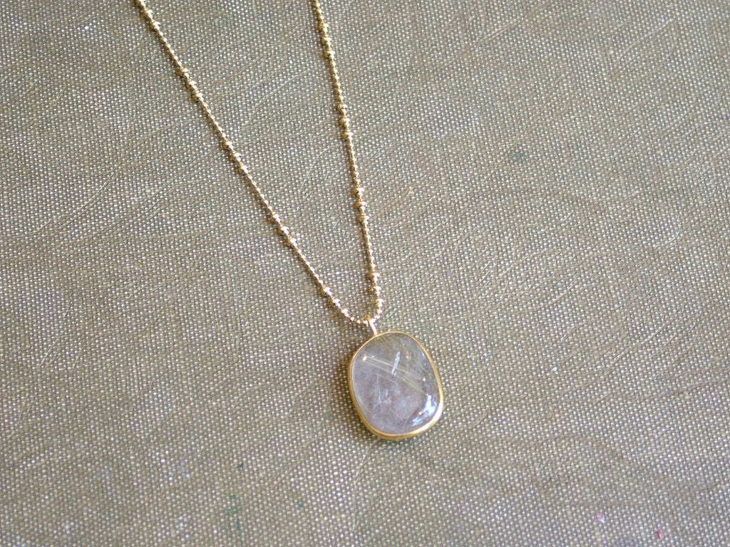 Golden Rutilated Quartz Pendant on Bobble Chain