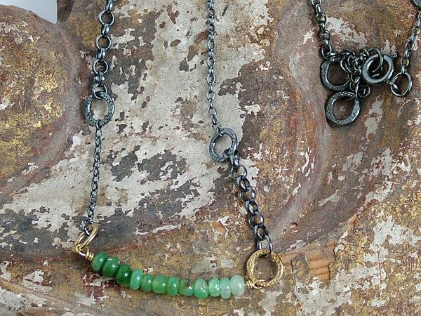 Chrysoprase Bead and Oxidised Silver Chain Necklace