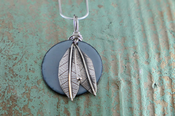 Pale Grey Enamel and Silver Leaf Pendant