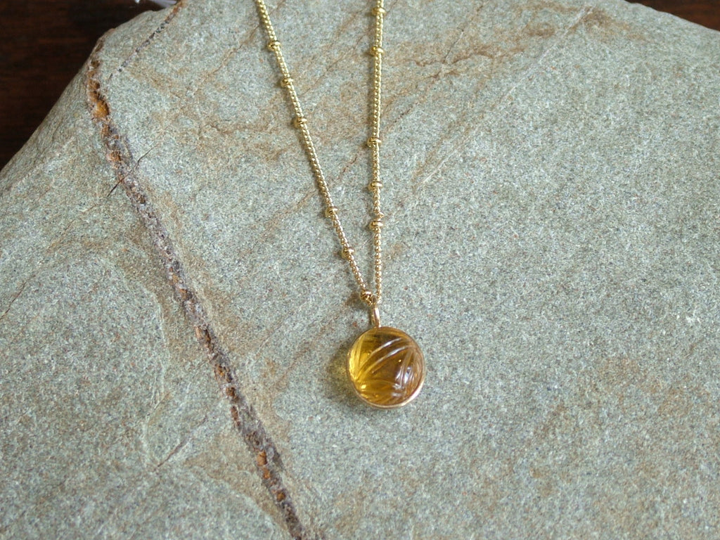 Citrine Carved Egg Pendant