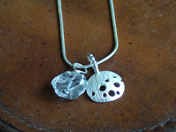 Silver Charm Necklace with Herkimer Diamond Quartz Stone