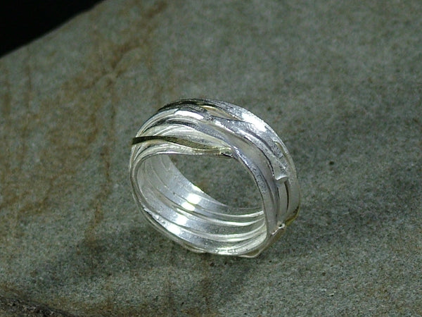 Large Silver and Gold Wrap Ring