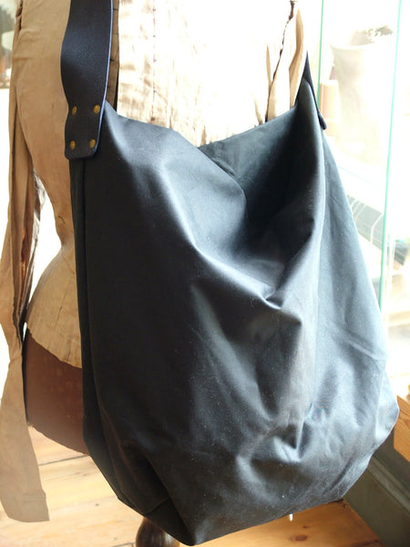 Navy Waxed Cotton Handmade Tote Bag with Suede Leather Strap