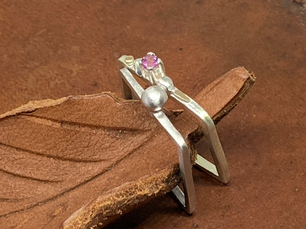 Fine Silver Square Ring Set with Rhodolite