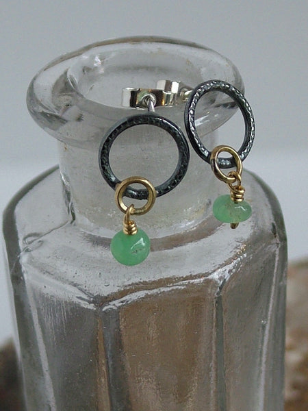 Oxidised Silver and Chrysoprase Drop Earrings