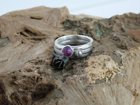 Ring Trio Oxidised Rose and Amethyst Cabochon
