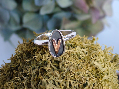 Silver with Copper Heart Oval Ring