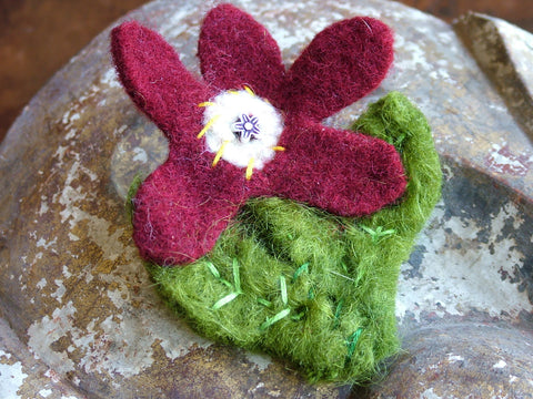 Vintage and Preloved Felted Flower Brooch