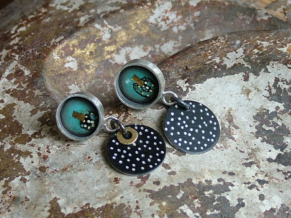 Silver, Turquoise Enamel and Anodised Aluminium Drop Earrings