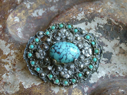 Vintage and Preloved Faux Turquoise Brooch
