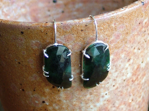 Emerald and Silver Drop Earrings