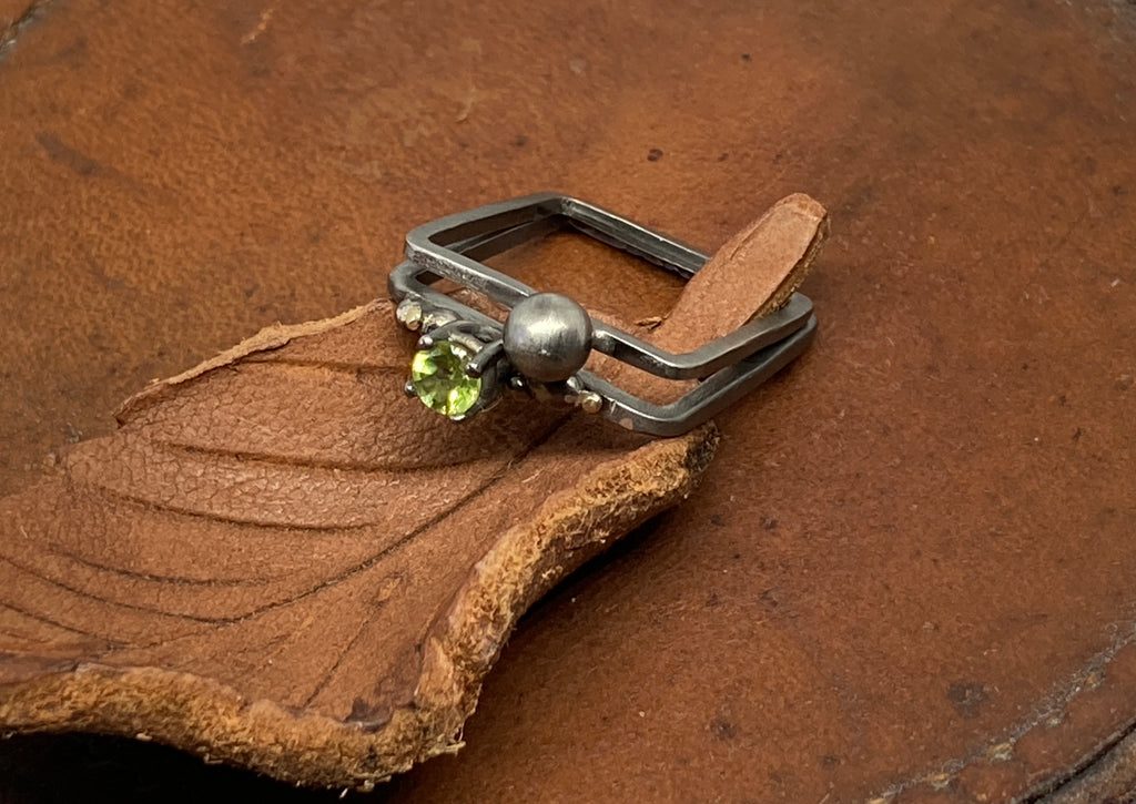 Fine Oxidised Silver Square Ring Set with Peridot