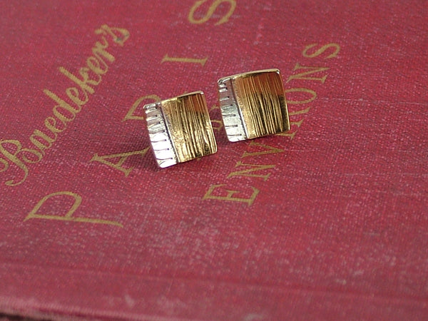 Square Silver and 24 ct Gold Plated Silver Fused Wire Studs