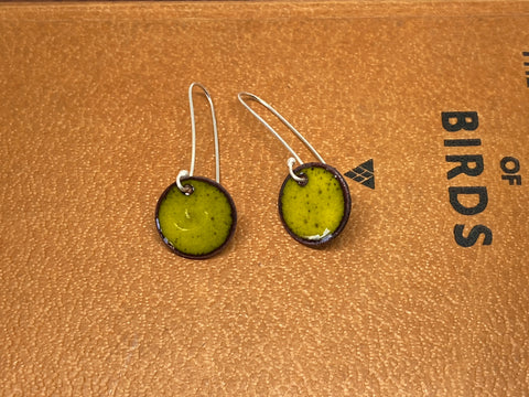 Yellow Enamel Circle Earrings