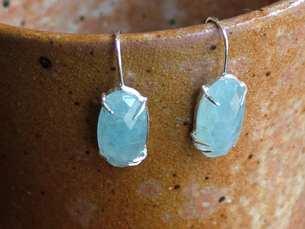Aquamarine and Silver Drop Earrings