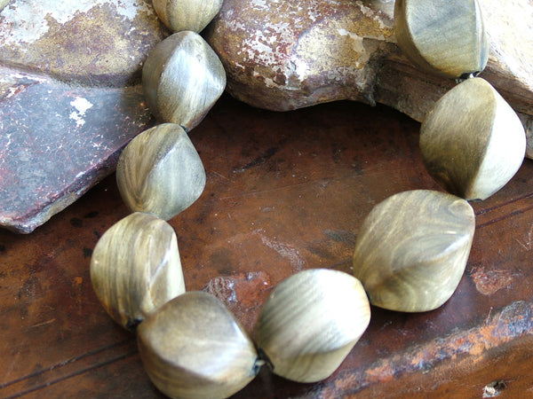 Vintage and Preloved Chunky Olive Wood Bead Necklace