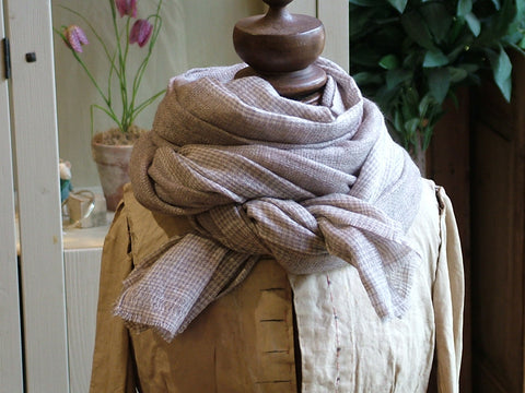 Light Brown Dog Tooth Wool Scarf