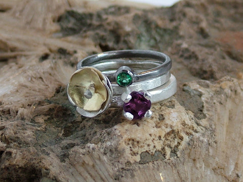 Ring Trio Amethyst and Emerald