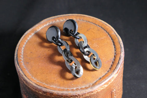 Black/Natural Buffalo Horn Chain Link Earrings
