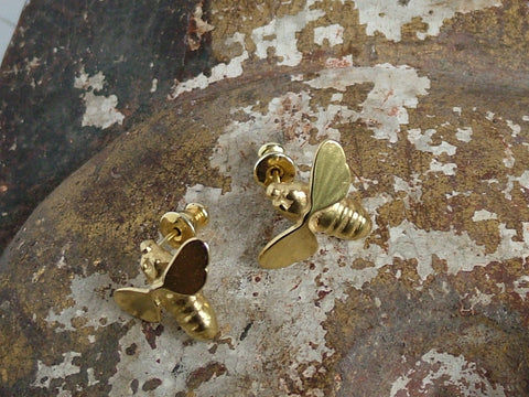 Gold Plated Silver Bee Earrings
