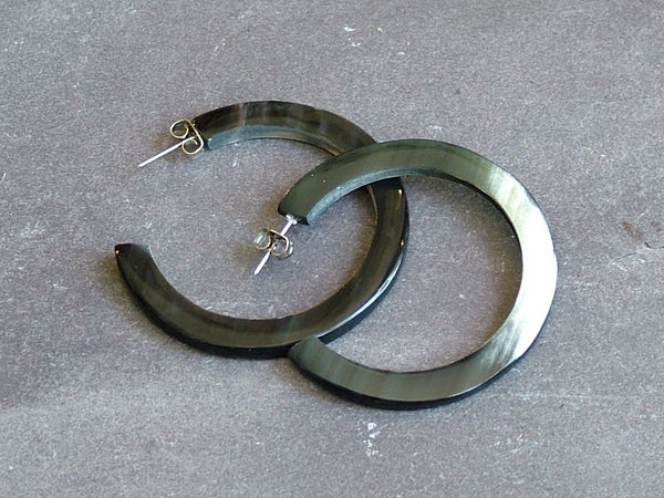 Black Buffalo Horn Hoop Earrings