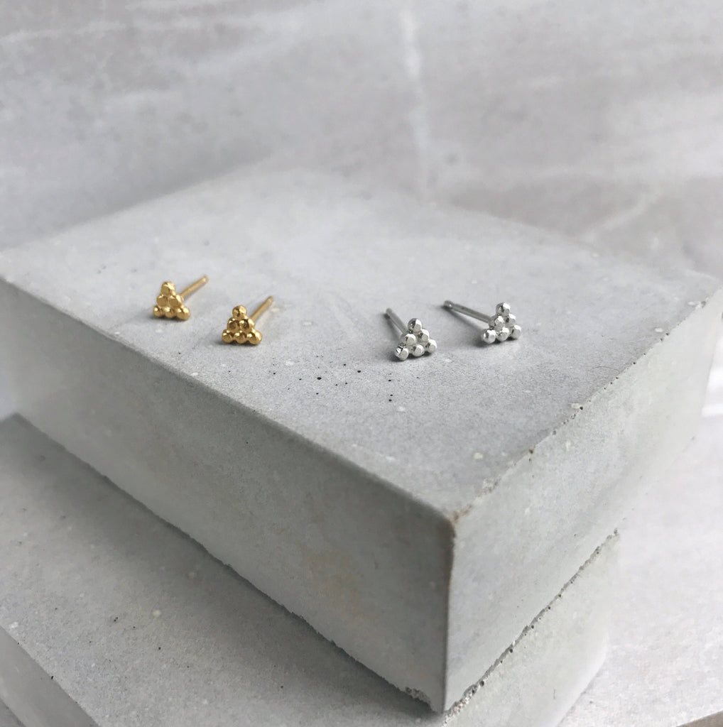 Silver Dot Pyramid Stud Earrings