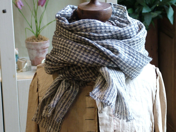 Soft Check Wool Scarf