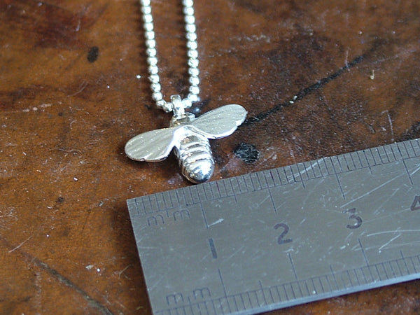 Polished Silver Bee Necklace