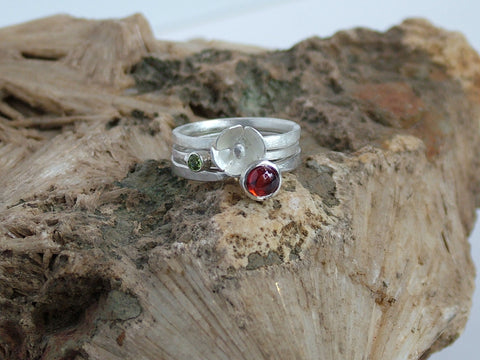 Silver Ring Trio with Garnet and Peridot