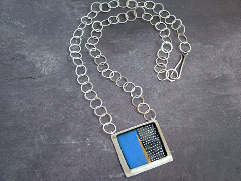 Cobalt Blue Enamel and Silver Square Necklace with Handmade Silver Chain