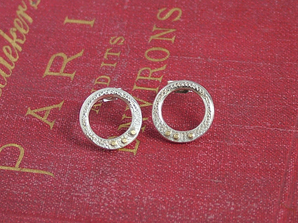 Textured Silver Circle Studs with Gold Spots