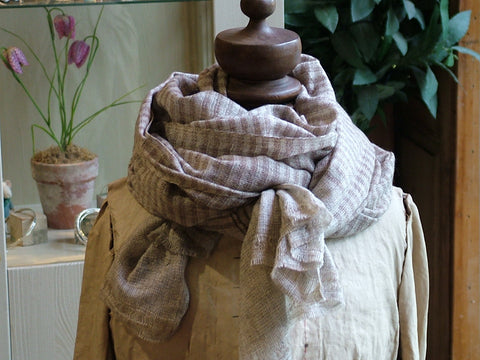 Brown Narrow Stripe Wool Scarf