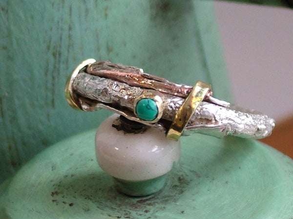 Mixed Metal Ring with Turquoise Cabochon