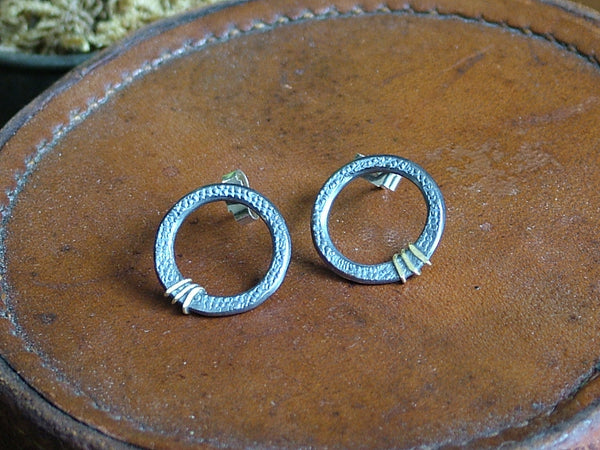 Medium, Textured Silver Circle Studs with Gold Lines