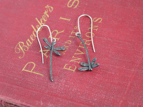 Oxidised Silver Dragonfly Earrings