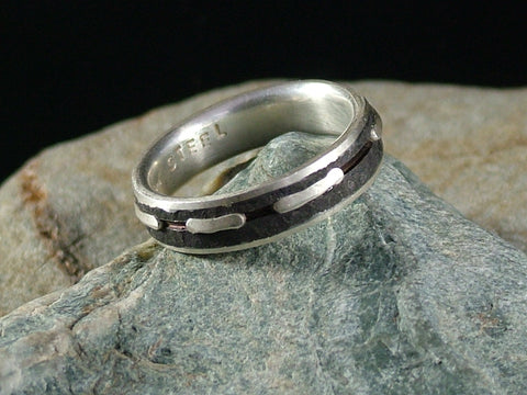 Oxidised Mild Steel and Silver Ring with Silver Lines No.1