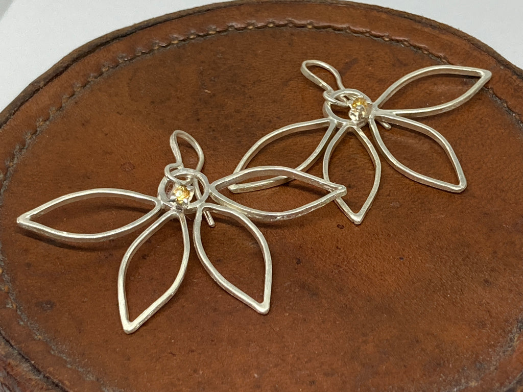 Silver Sunflower Drop Earrings with Citrine