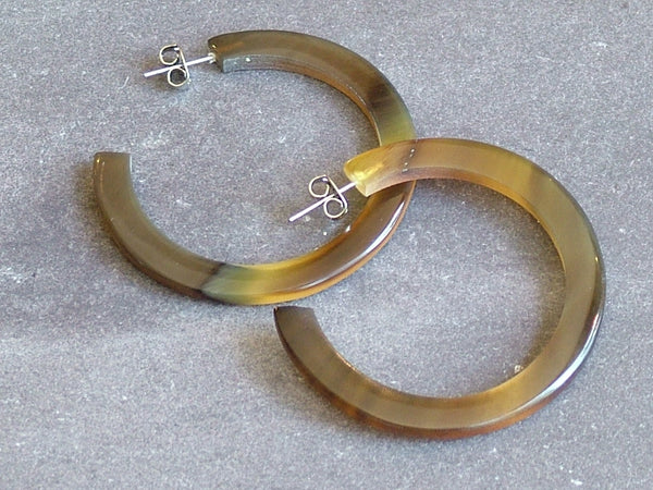 Brown Natural Buffalo Horn Hoop Earrings