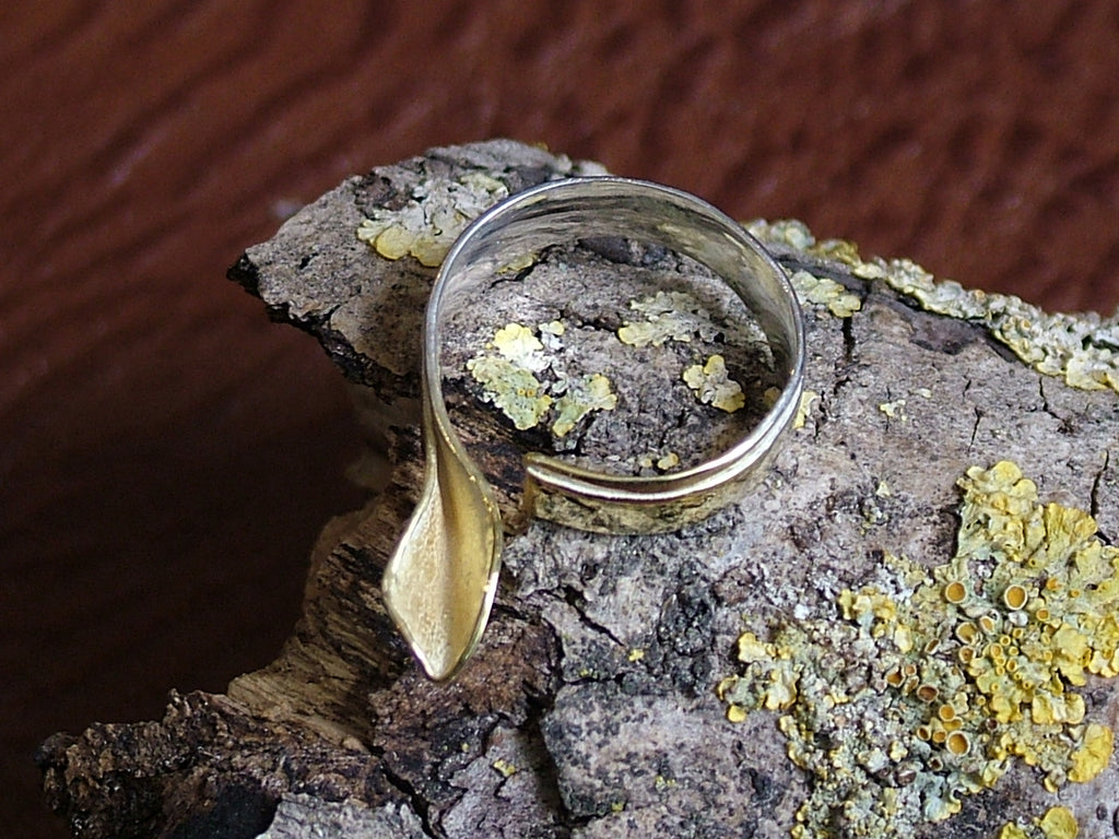 Silver and Gold Plated Single Leaf Ring