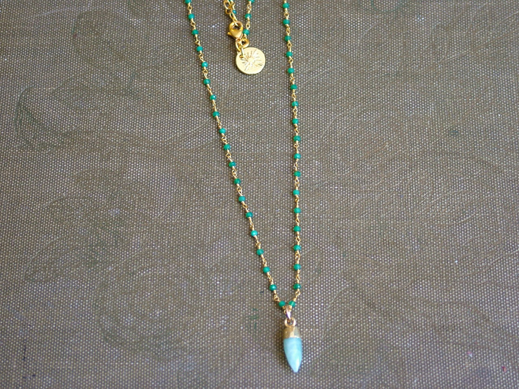 Mini Point Amazonite on Rosary Style Green Onyx Chain