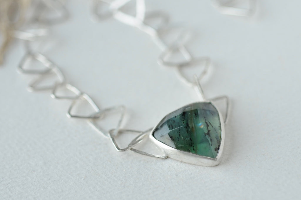 Triangle Link Necklace with Peruvian Blue Opal