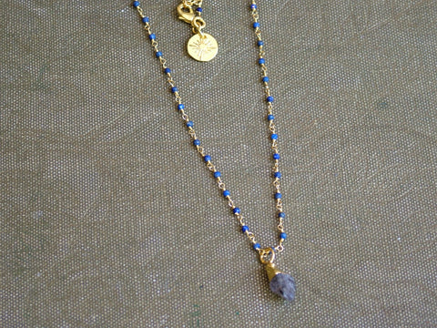 Raw Herkimer Diamond on Rosary Style Chain with Lapis Lazuli
