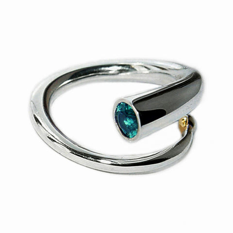 Chunky Polished Ring with Blue Topaz and Gold Ball