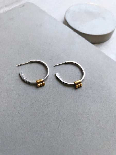Silver Hoop Earrings with Gold Plated Silver Bead