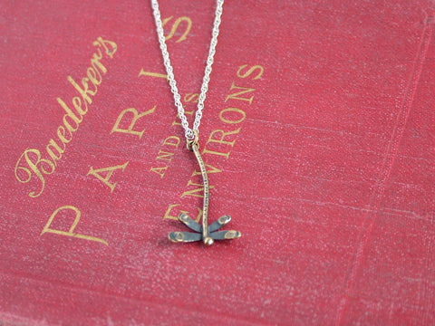 Oxidised Silver and Gold Plated Silver Dragonfly Necklace