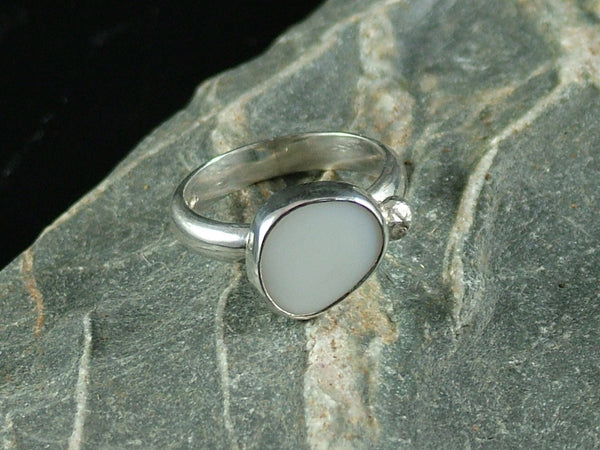 Pebble and Silver Ball Milk Sea Glass Ring