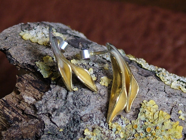 Silver and 18 ct Gold Plated Double Floret Studs