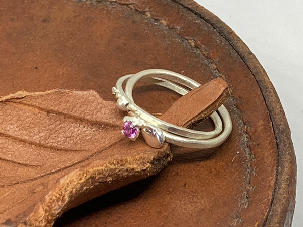 Fine Silver Ring Set with Rhodolite
